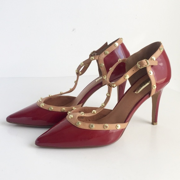 ca77766dbdfe Halogen Shoes - Halogen Studded Heels Red Patent Leather T-strap